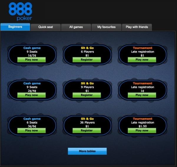 Лобби 888poker