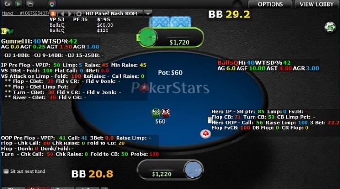 HUD со статистикой соперников за покерным столом