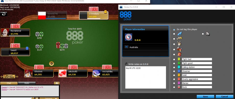 888Poker - метки