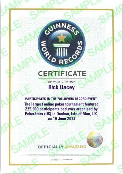 Сертификат рекорда Гиннеса