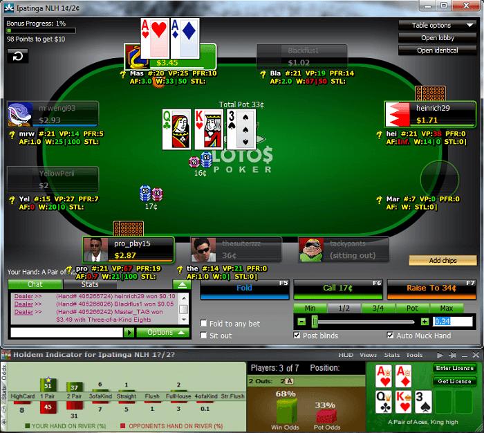 Holdem Indicator в покер руме LotosPoker