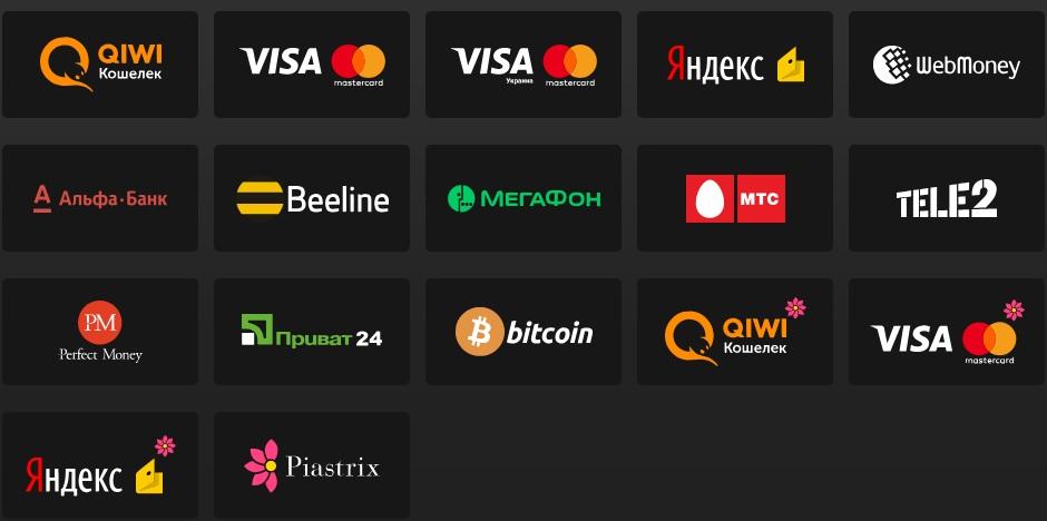 Способы внесения платежей