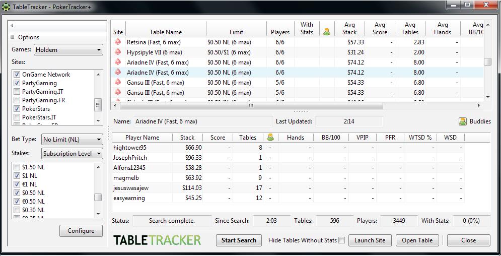 Выбор столов в дополнении TableTracker